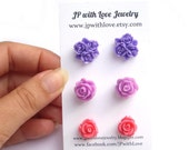 Stud earrings, Purple flower earrings, Flower Stud earrings, pink stud earrings, purple stud earrings, mothers day