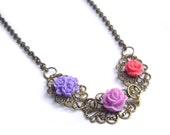 Flower necklace, purple necklace, lilac,