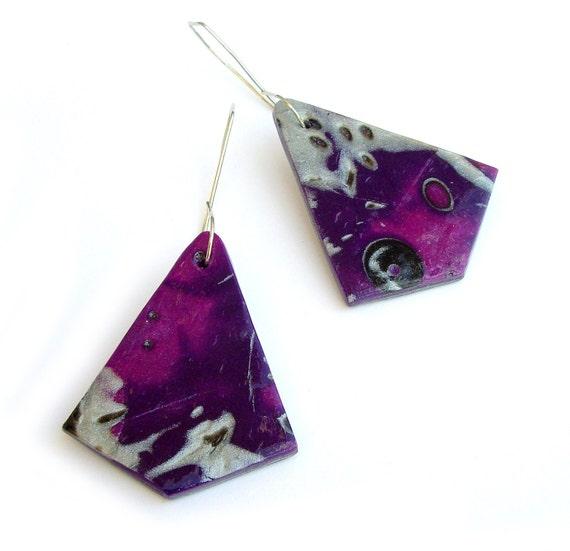 Mokume Gane Earrings: Purple Mokume Gane Earrings Polymer Clay By JPwithLove On Etsy