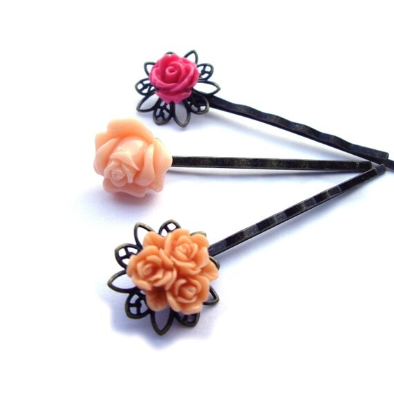 Hair pins, Flower Hair pins, Peach Hair pins, Orange Hair pins, Tangerine Hair pins, Pink Hair pins, Set of 3