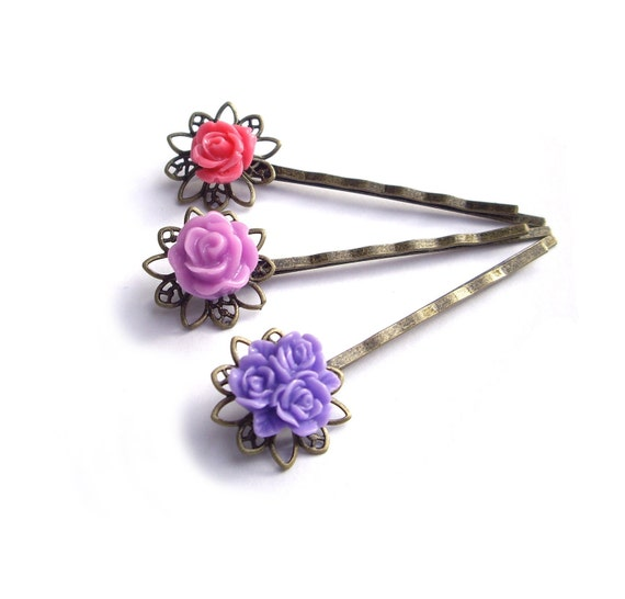 Bridesmaid gift - Hair pins, Purple Hair pins, Flower Hair pins, pink, lilac, resin rose,