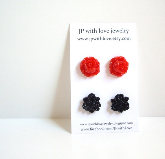 Stud earrings black and red lotus resin flower jewelry set of 2 red jewelry black earrings