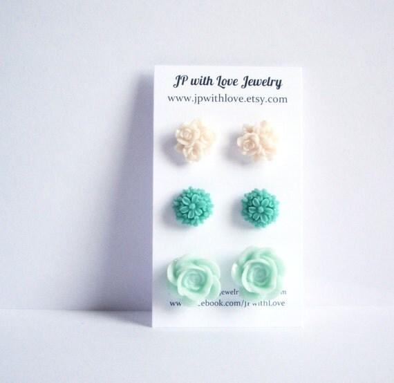 Stud earrings, Teal Stud earrings,  mint green Stud earrings, ivory white, rose resin flower, set of 3