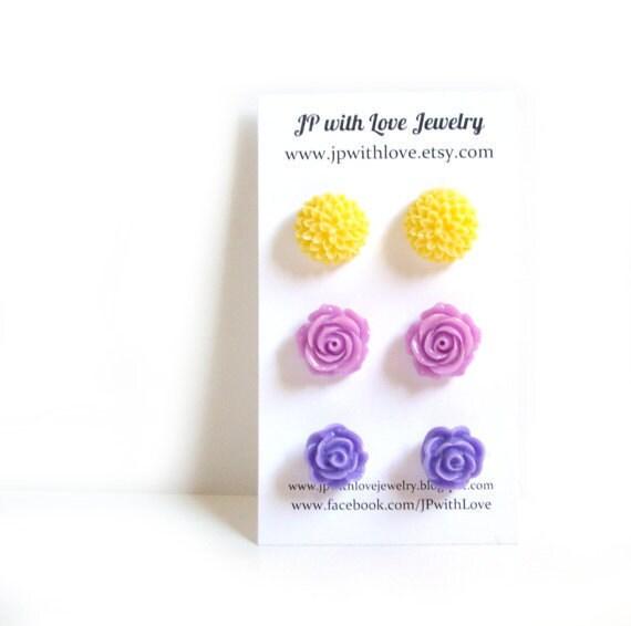 Flower stud earrings, purple Stud earrings, lilac stud earrings, yellow stud earrings, flower earrings, rose, set of 3, flower jewelry