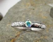 Stunning white rainbow mystic topaz engagement ring, promise ring or stacker ring, Petite range, Custom made to order