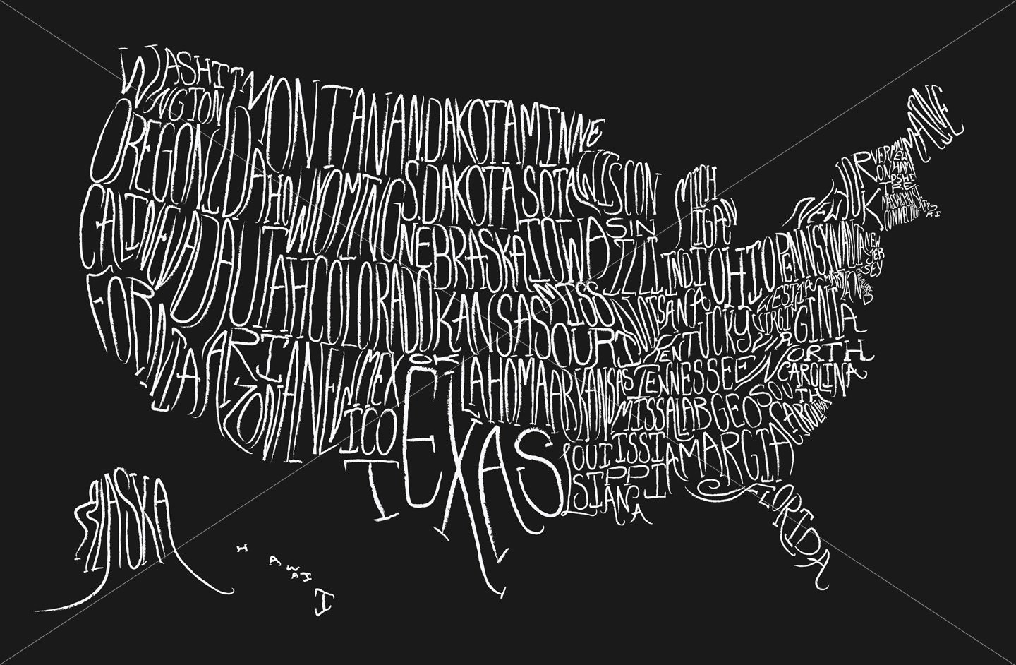 Typographic Map Of The Us