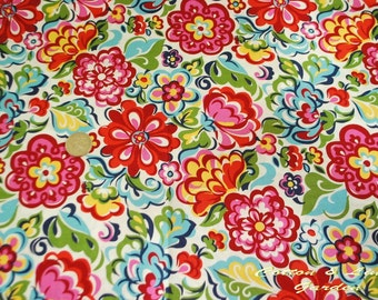 Cotton Fabric - Colorful Flowers - Fat Quarter - handmade on show