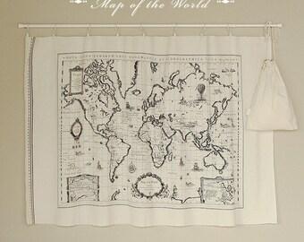 "Map of the world - Cotton linen fabric - Handmade on show - 1 Panel - 57"" x 31"" - S2F2"