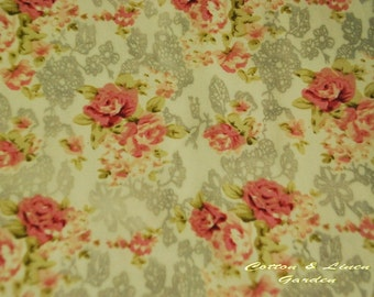 Pure cotton fabric - lace and flower - 1/2 yard