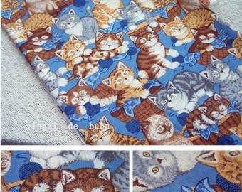 Cotton fabric - Lovely Kittens - 19.5in x 45.5in