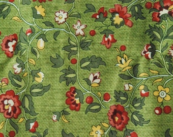 Cotton Fabric - Red Flowers with Green - 17in x 21in