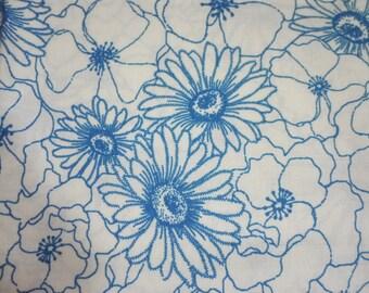 Cotton Fabric - Blue Chrysanthemum - Fat Quarter - handmade on show
