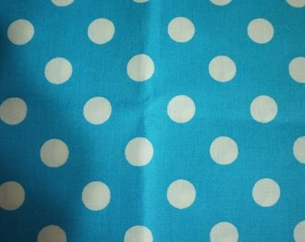 Cotton Fabric - 13mm White Polka Dots with Bright Blue - Fat Quarter - Handmade on Show