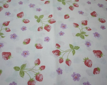 Cotton Fabric - Strawberry and Little Purple Flower with White- Fat Quarter
