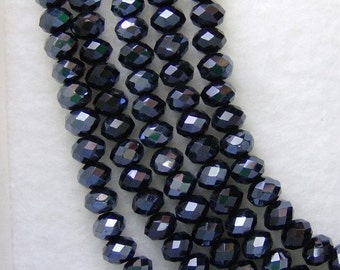 Black Rondelle Glass Beads 6x4mm