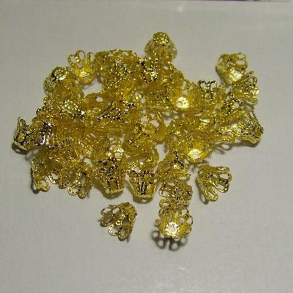 100pcs Gold  plated bead caps 6mm