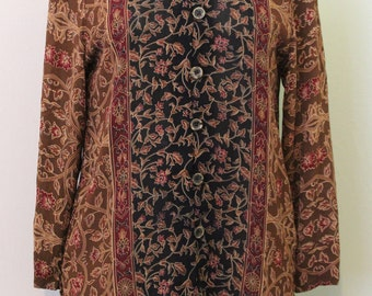 Brown and Black Floral Blouse