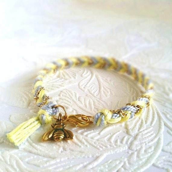 10 Dollar SALE: Chevron Braided Modern Friendship Bracelet - Fluorescent Yellow & Ice Grey