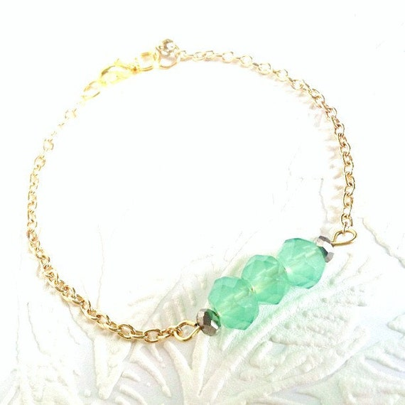 Frosted Mint - Dainty Beaded Modern Friendship Bracelet - Gold Chain
