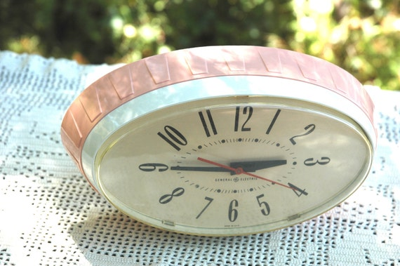 Retro 1960's Pink GE Oval Kitchen Wall Clock
