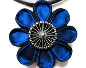 BESPOKEN BLUE   Silk Kanzashi Flower Pendant Necklace