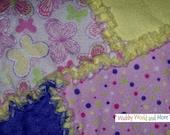 Glitter Butterfly Flannel Rag Blanket & Burp Rags - Shabby Collection