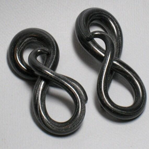 SALE - Gauged Earrings, Black Tie, Figure 8, 2G and 0/00G