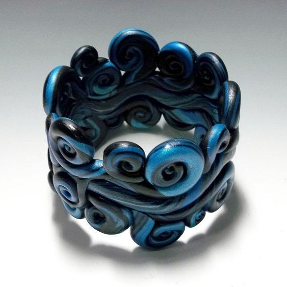Polymer Clay Charm Bracelet: SALE Polymer Clay Bracelet Poseidon Wide Cuff