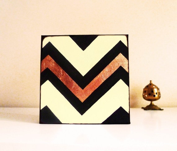 Chevron - modern painting - with copper leaf detail