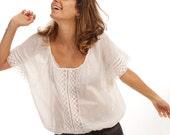 Lace Blouse White. Women Shirt with Lace. Oversize Shirt