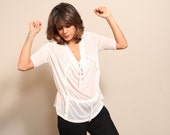 SALE 55% OFF --- Women Tie Blouse - White