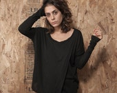 Sale 50% Off Oversize Top, Long Sleeve Top Black, Winter Fashion, Women Clothing