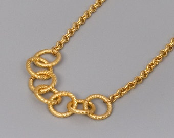 Simple Gold Necklace, Gold Chain Necklace, Links Circles Necklace, Layering Necklace, Choose Your Length, Womens Jewely, Gold Chainmaille