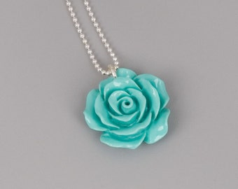 Turquoise Flower Necklace, Blue Flower Necklace, Sterling Silver Necklace, Bridesmaids Jewelry, Flower Jewelry, Bridesmaids Necklace, Mint