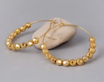 Gold Earrings, Hoops Earrings, Beaded Earring, Bridal Jewelry, Delicate Earrings, Circle Earrings, Nugget Earrings, Everyday Earrings,