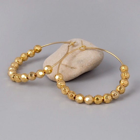 Gold Hoops Earrings - Golden Forever - Handmade Gold Plated Faceted Beads on Golden Hoop Jewelry