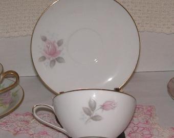 Vintage Tea Cup Noritaki Roseville Pink Rose Teacup and Saucer