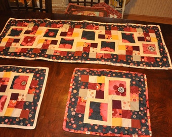Tablerunner and place mat combo