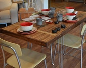 CUSTOM ORDER TARYN Extension Dining Table - Reclaimed Maple - Hairpin Legs