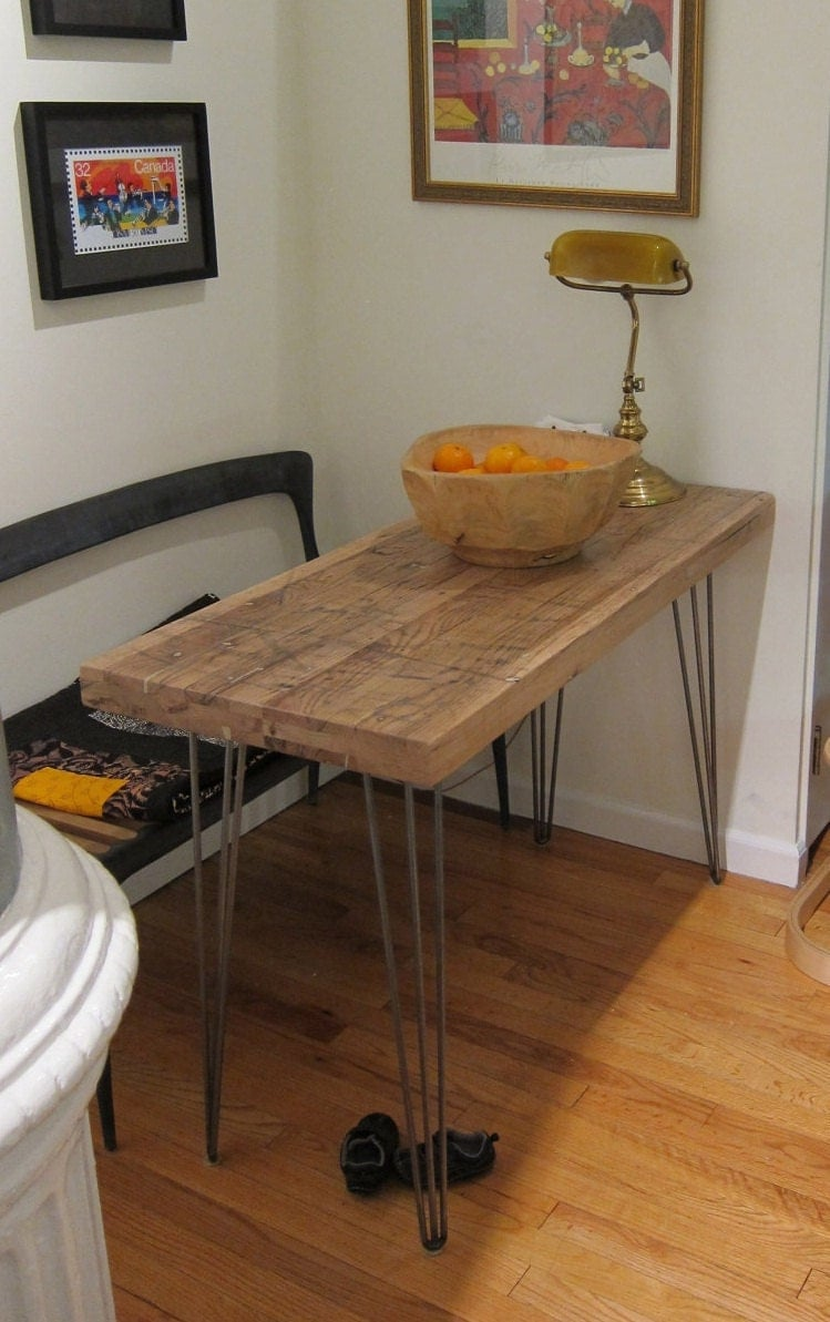Small kitchen table reclaimed oak hairpin legs for Small apartment kitchen table