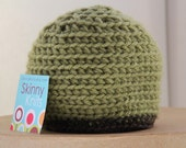 Baby Green soft cotton hat with brown trim. Size infant 0-6 months girl or boy, boy hat, soft warm hat, green crochet hat FREE SHIPPING