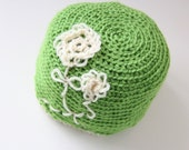 Handmade Green Hat with Cream Flowers, Springtime Hat, Green Hat, Etsy Gifts, Size Adult Hat, FREE SHIPPING