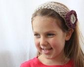 Cute Handmade Unique Warm Soft Wool Headband with purple flower-size child-preteen