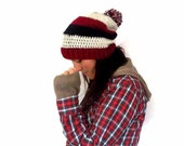 Slouchy beanie hat with pompom in cream red ad navy blue