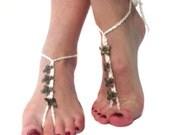 Foot thong barefoot sandals with bronze butterflies hippy boho yoga beach shoes