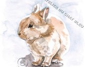 Original Watercolor Bunny Art