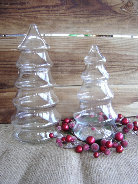 BLACK Friday CYBER Monday Sale Set of Two Christmas Tree Apothecary Jars