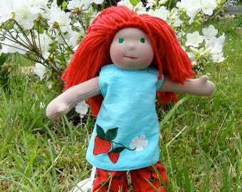 """Pippin the strawberry girl13"""" organic doll waldorf inspired"""