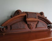 Antique Walnut Pediment - Architectural Beauty