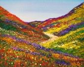 Desert in Bloom - Acrylic on Canvas Board - Framed